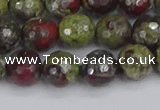 CDB331 15.5 inches 10mm faceted round A grade dragon blood jasper beads