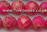 CDE2116 15.5 inches 18mm faceted round dyed sea sediment jasper beads