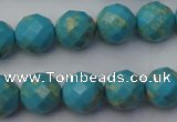 CDE2153 15.5 inches 12mm faceted round dyed sea sediment jasper beads