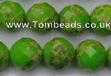 CDE2187 15.5 inches 20mm faceted round dyed sea sediment jasper beads