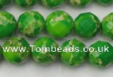 CDE2192 15.5 inches 10mm faceted round dyed sea sediment jasper beads