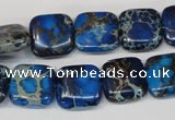 CDE238 15.5 inches 14*14mm square dyed sea sediment jasper beads