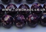 CDE2535 15.5 inches 14mm faceted round dyed sea sediment jasper beads