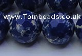 CDE2584 15.5 inches 24mm faceted round dyed sea sediment jasper beads