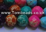 CDE2699 14mm faceted round mixed color sea sediment jasper beads