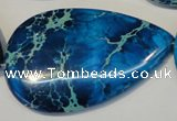 CDE328 15.5 inches 30*50mm flat teardrop dyed sea sediment jasper beads
