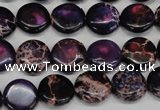 CDE398 15.5 inches 12mm flat round dyed sea sediment jasper beads