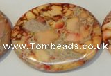 CDE537 15.5 inches 35*45mm oval dyed sea sediment jasper beads