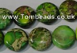CDE937 15.5 inches 16mm flat round dyed sea sediment jasper beads