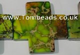 CDE954 15.5 inches 45*45mm cross dyed sea sediment jasper beads