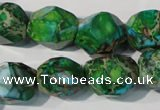 CDI964 15.5 inches 14*17mm faceted nuggets dyed imperial jasper beads