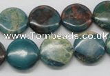 CDS12 16 inches 16mm flat round dyed serpentine jasper beads wholesale