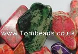 CDT983 15 inches 15*30mm – 26*55mm freeform dyed aqua terra jasper beads