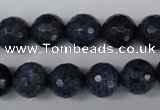 CDU114 15.5 inches 12mm faceted round blue dumortierite beads