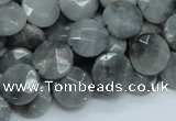 CEE37 15.5 inches 12mm faceted coin eagle eye jasper beads wholesale