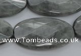 CEE85 15.5 inches 20*40mm faceted oval eagle eye jasper beads