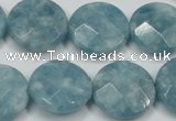 CEQ186 15.5 inches 20mm faceted coin blue sponge quartz beads