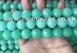 CEQ316 15.5 inches 16mm faceted round green sponge quartz beads