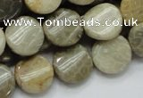 CFA19 15.5 inches 15mm twisted coin chrysanthemum agate beads