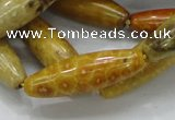CFA37 15.5 inches 12*40mm rice yellow chrysanthemum agate beads