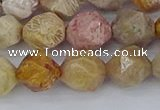 CFC238 15.5 inches 10mm faceted nuggets fossil coral beads