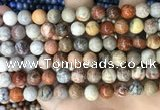 CFC342 15.5 inches 8mm round red fossil coral beads wholesale