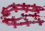 CFG1233 15.5 inches 32*45mm - 35*48mm cross dragon veins agate beads