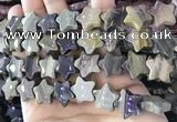 CFG1303 15.5 inches 15mm carved star silver leaf jasper beads