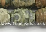 CFG1509 15.5 inches 15*20mm carved rice rhyolite gemstone beads