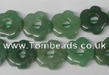 CFG255 15.5 inches 15mm carved flower green aventurine beads