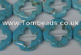 CFG256 15.5 inches 20mm carved flower turquoise beads