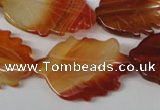 CFG280 15.5 inches 20*30mm carved leaf red agate beads