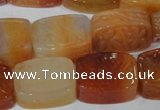 CFG549 15.5 inches 15*20mm carved brick red agate beads