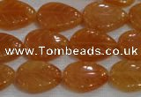 CFG817 12.5 inches 15*20mm carved leaf red aventurine beads wholesale