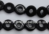 CFG903 15.5 inches 12mm carved coin donut black agate beads