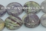 CFJ01 15.5 inches 20mm flat round natural purple flower stone beads