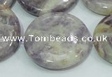 CFJ03 15.5 inches 30mm flat round natural purple flower stone beads