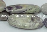 CFJ07 15.5 inches 20*40mm oval natural purple flower stone beads
