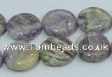 CFJ16 15.5 inches 16mm flat round natural purple flower stone beads