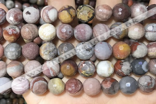 CFJ254 15.5 inches 12mm faceted round fantasy jasper beads wholesale