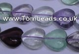 CFL1054 15 inches 14*14mm heart natural fluorite gemstone beads