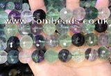 CLF1158 15.5 inches 12mm faceetd round fluorite gemstone beads
