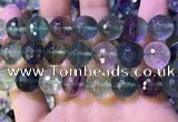 CLF1159 15.5 inches 14mm faceetd round fluorite gemstone beads