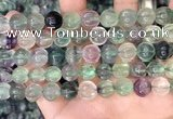 CLF1168 15.5 inches 10mm carved round fluorite gemstone beads
