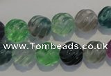 CFL457 15.5 inches 12mm carved round natural fluorite beads