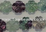 CFL493 15.5 inches 15mm carved flower natural fluorite beads