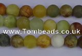 CFW201 15.5 inches 6mm round matte flower jade beads wholesale