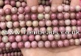 CFW46 15.5 inches 8mm round pink wooden jasper beads wholesale