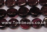 CGA383 15 inches 7mm coin natural red garnet beads wholesale