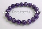 CGB2554 7.5 inches 12mm round charoite gemstone beaded bracelets